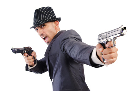 Gangster with guns isolated on white photo
