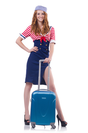 Woman travel attendant with suitcase on white Stock Photo - 27276897