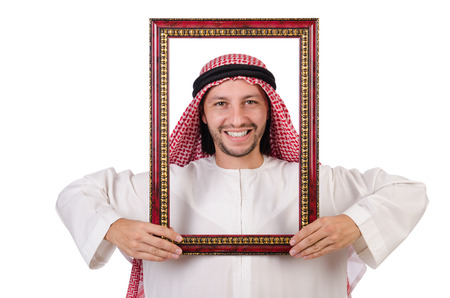 thoub: Arab with picture frame on white
