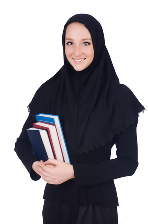 Young muslim student with books on white photo