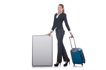 Woman preparing for vacation with suitcase on white Stock Photo - 23877564