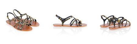 opentoe: Sandal shoes isolated on the white Stock Photo