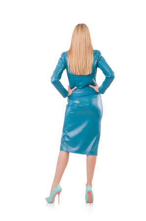 Woman model in blue leather suit Stock Photo - 23722481