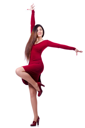 Woman dancing isolated on the white Stock Photo - 23877634