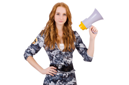 Redhead soldier with loudspeaker on white photo