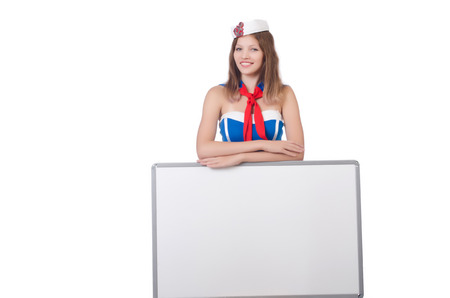 Young woman with blank board on white Stock Photo - 23924570