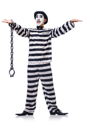 Funny man with facemask mask with shackles on white Stock Photo - 23825595