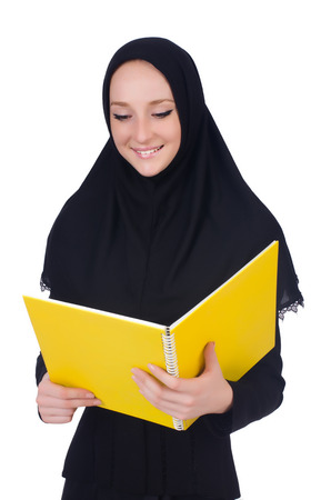 Young muslim student with books on white Stock Photo - 23925155
