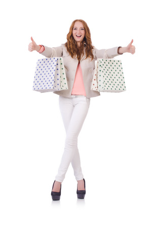 Woman with bags after christmas shopping photo