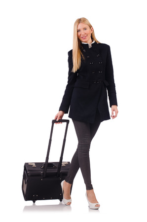 Businesswoman with travel suitcase on white Stock Photo - 23926145