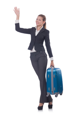 Businesswoman travelling isolated on white Stock Photo - 23926226