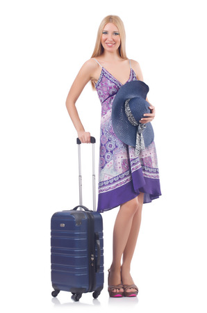 Woman going to summer vacation isolated on white Stock Photo - 27292542