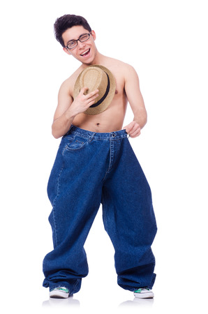 Funny man with trousers isolated on white photo