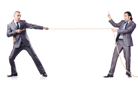 Man in tug of war concept on white Stock Photo - 27277443