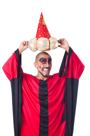 Wizard in red costume isolated on white Stock Photo - 27292546