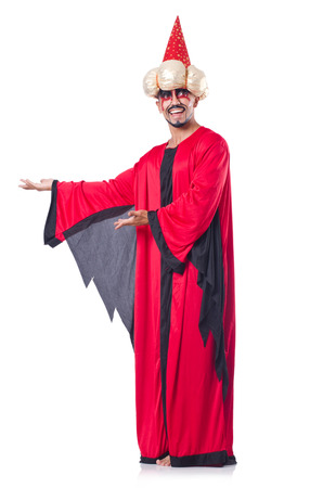 Wizard in red costume isolated on white Stock Photo - 27292543