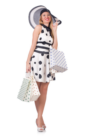 Girl after good shopping on white Stock Photo - 27292547