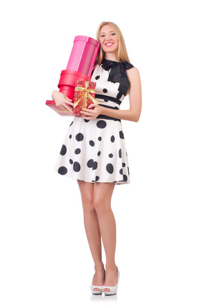 Young woman with christmas shopping on white Stock Photo - 27292544