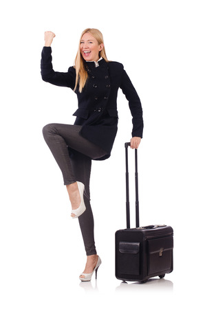 Businesswoman with travel suitcase on white Stock Photo - 27292550