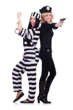 Prisoner and police isolated on the white Stock Photo - 27292553