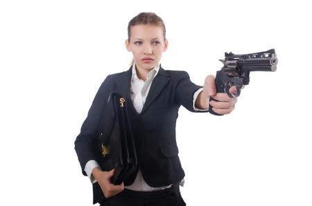 Woman businesswoman with gun on white photo