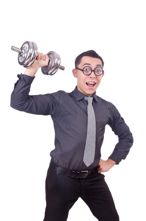 Funny businessman with dumbbells isolated on white photo