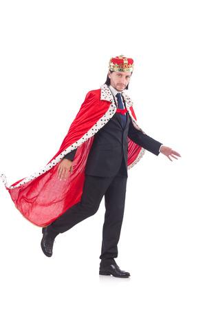 King businessman isolated on white photo