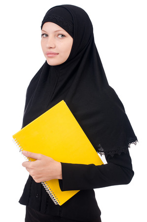 Young muslim female student with books photo