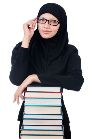 kuran: Giovane studentessa musulmana con i libri