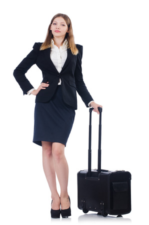 Woman preparing for vacation with suitcase on white photo