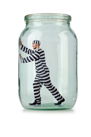 Glass empty jar isolated on white Stock Photo - 24576735