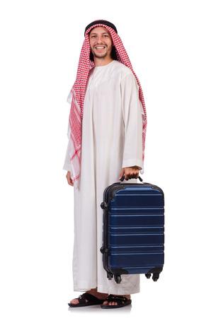 qameez: Arab man with luggage on white Stock Photo