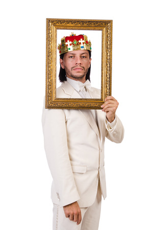 King with picture frame on white photo