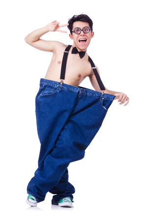 Funny man with trousers isolated on white Stock Photo - 24921182