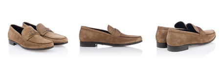 loafer: Male shoes isolated on the white  Stock Photo