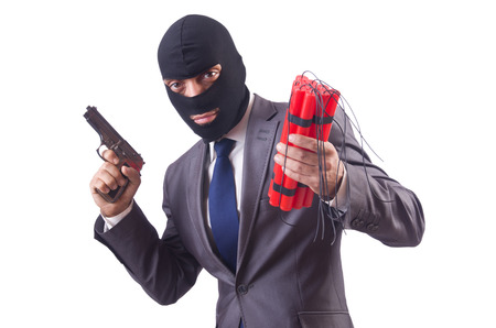 Terrorist with dynamite isolated on white Stock Photo - 24921427