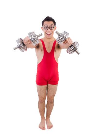 funny guy: Funny guy exercice avec des halt�res sur blanc