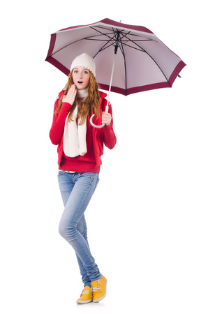 haute couture: Young woman with umbrella on white