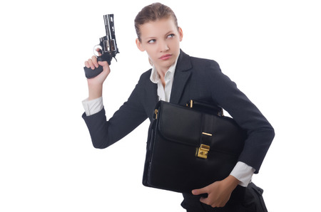 Woman businesswoman with gun on white photo