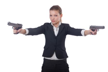 Woman businesswoman with gun on white Stock Photo - 27277645