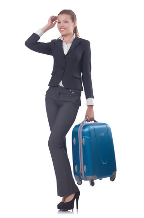 Businesswoman travelling isolated on white photo