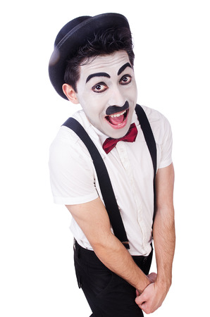 Personification of Charlie Chaplin on white photo
