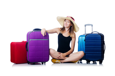 Young girl travelling isolated on the white Stock Photo - 27277656