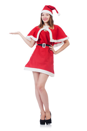 Young woman in red santa costume on white Stock Photo - 27277670