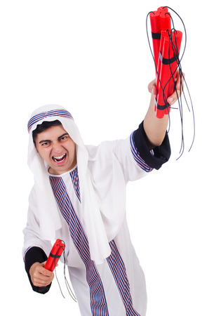 Arab man with red sticks of dynamite Stock Photo - 24576806