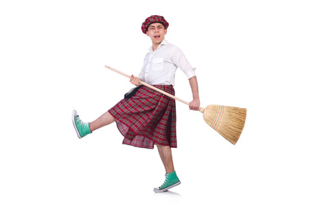 Funny scotsman isolated on the white background photo