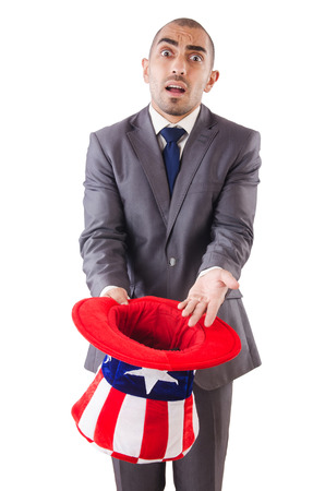 Man with american hat asking for money Stock Photo - 24576880