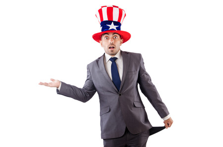 Man with american hat asking for money Stock Photo - 24576881