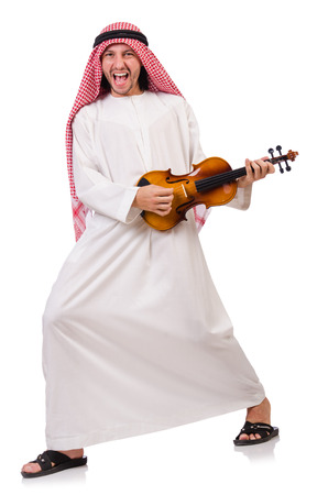 solo violinist: Arab man playing violing on white