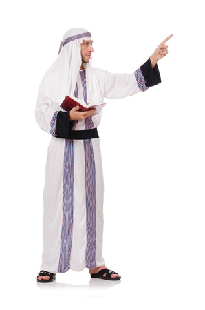 coran: Arab man with book isolated on white Stock Photo